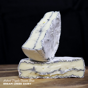 Ashed Triple Cream Brie made by Bream Creek Dairy.