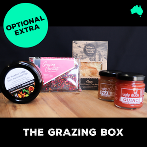 Optional extra, the Grazing Box featuring fine artisan Australian produce that works perfectly well with artisan cheese.