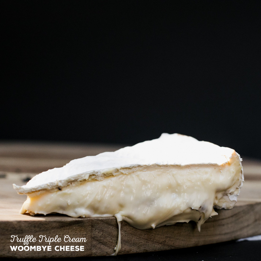 Truffle Triple Cream Brie handmade by Woombye Cheese.