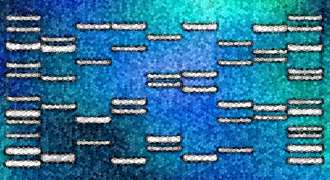 Abstract Mosaic Blue DNA Art