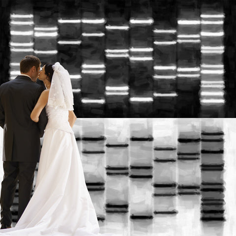 Combined Couples DNA Art Abstract