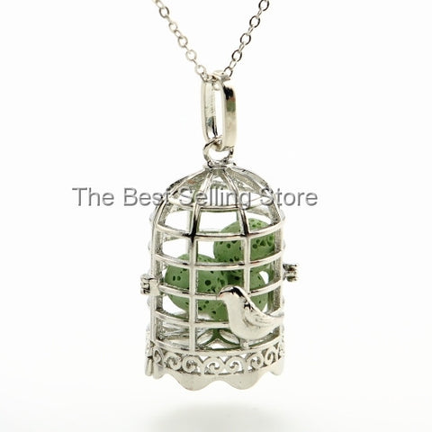 Adorable Bird Cage Essential Oil Diffuser Necklace