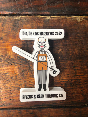 Rivers and Glen Dia De Los Muertos Stickers