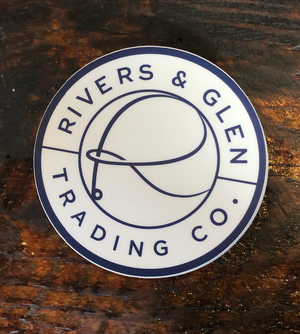 Rivers & Glen Logo Sticker White/Blue