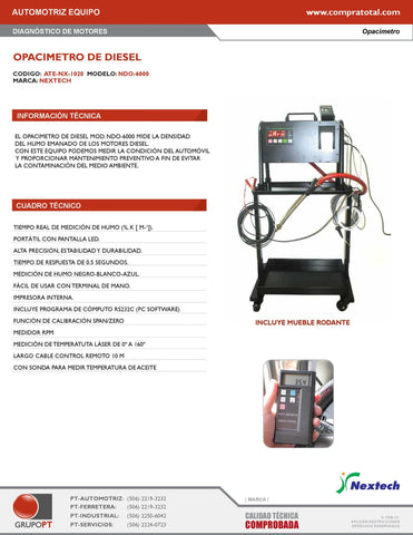 QROTECH - NDO-6000 - ATE-NX-1020 - AUTOMOTRIZ EQUIPO - DIAGNOSTICO AUTOMOTRIZ - OPACIMETROS - OPACIMETRO AUTOMOTRIZ PARA DIESEL CON KIT COMPLETO