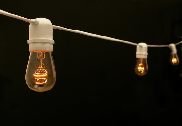 48 Ft Edison Lights - White Cord LED Bulbs