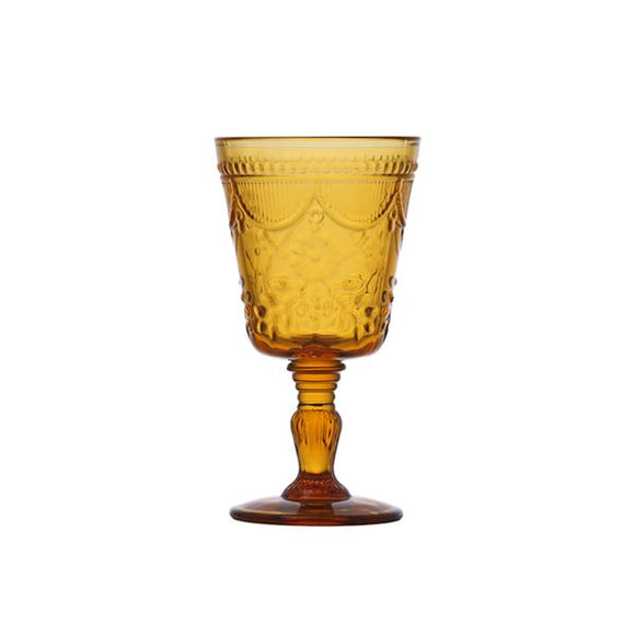 Pressed Glass Goblet - Amber