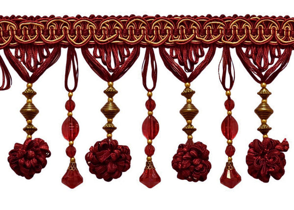 3 Yard Package of Stunning Burgundy Red, Gold 4