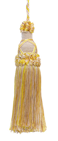 Decorative 5.5 Inch Key Tassel, Ivory, Yellow Gold Imperial II Collection Style# KTIC Color: WINTER SUN - 4874