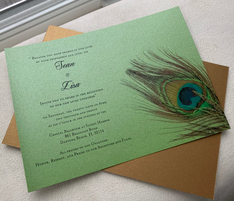 75 Peacock Invitations LW