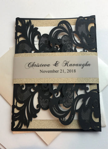 Black Gold Glitter Lasercut invitation, Pocket fold laser cut invitation, DIY Wedding Invitation, Elegant wedding Invitation