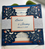 Blue Glitter Lasercut invitation, Orange Laser cut, Royal Blue Invitation, laser cut, DIY Wedding Invitation, Elegant wedding Invitation