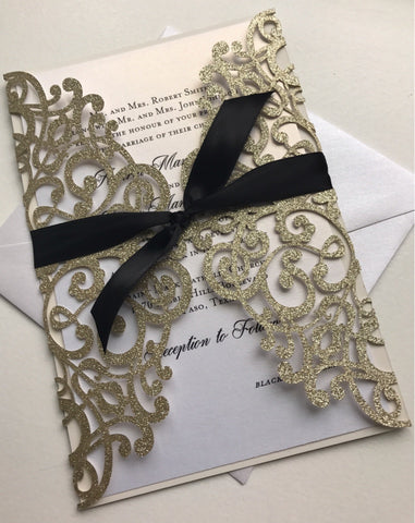 Gold RIbbon Glitter Lasercut Invitation, DIY Wedding Invitation, Laser Cut DIY Invitations