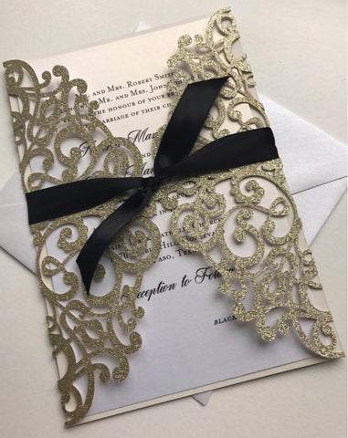 Elegant Glitter Laser Cut Invitation