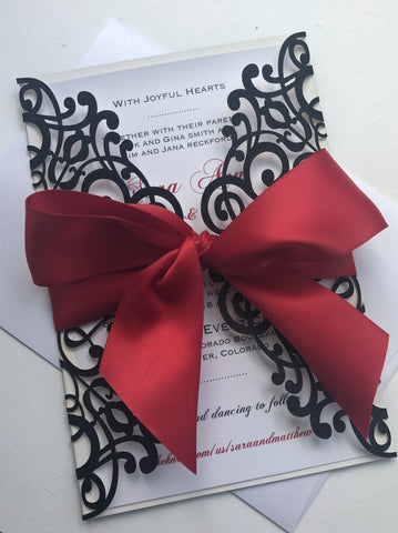 Black and Red Elegant Glitter Laser Cut Invitation, Glitter Lasercut