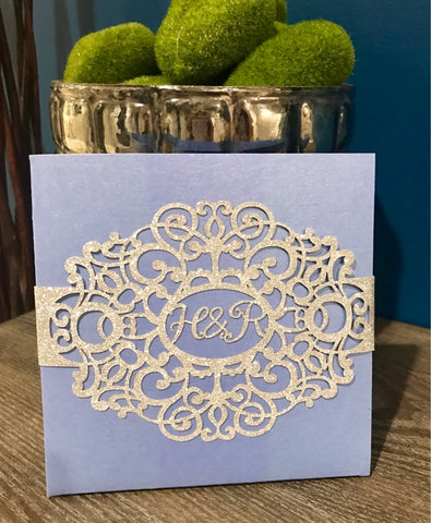 Custom Pocketfold Wedding Invitation, Blue Silver Glitter Invitation Glitz Wedding Invitation