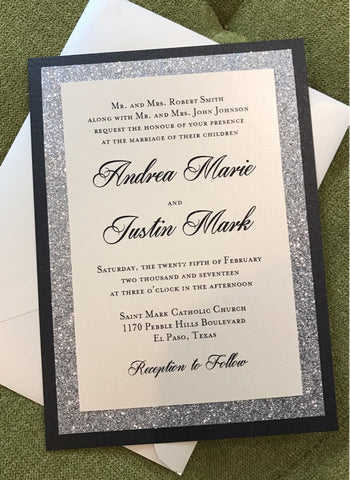 Silver Black Glitter wedding invitation, Elegant invitation, Sparkle invitation