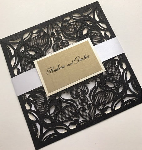 Laser Cut Invitation, DIY Laser Cut Invitation, Elegant Invitation, Glitter Invitation, Shimmer Invitation, Pochette Invitation, Black laser cut invitation
