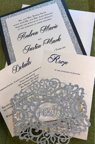 Silver Black Glitter wedding invitation, lasercut wedding invitation, doily invitation