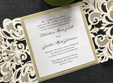 Elegant glitter laser cut invitation package, custom laser cut invitations, Gold and silver laser cut event invitations