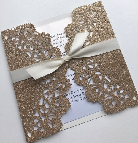 Lace Glitter Laser Cut Invitation