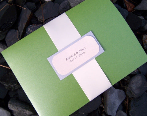 Pocket fold wedding invitation, pocketfold invitation, modern wedding invitation, green invitation, purple, ivory invitation