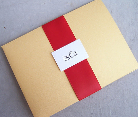 Gold pocketfold wedding invitation, gold, metallic invitation, red invitation, pocket fold invitation