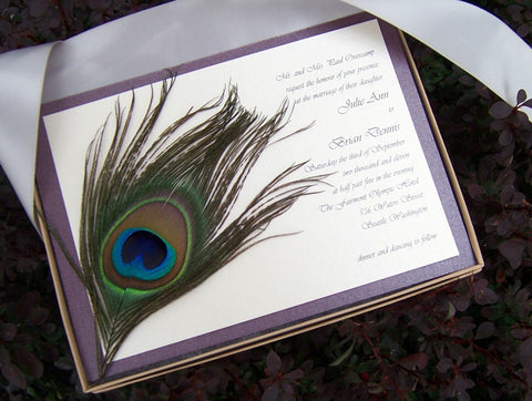 Marvelous Peacock Boxed Invitation Set