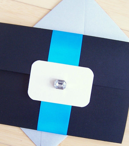 Blue Vibe Pocket Fold Invitation Set