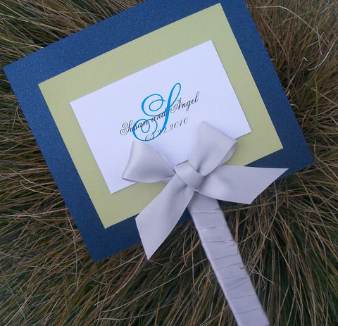 Fan wedding program, navy, ivory, green, program, layered wedding program, elegant wedding program