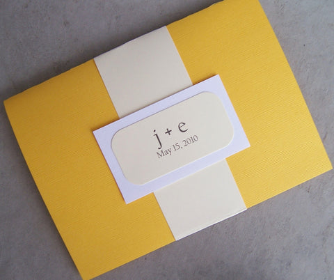 Yellow pocketfold wedding invitation, pocket fold invitation, yellow, ivory, white invitation,  modern invitation