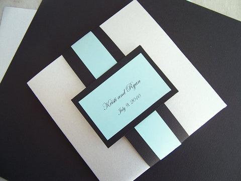 Pocketfold wedding invitation, pocket fold wedding invitation, silver, black aqua wedding invitation, modern wedding invitation