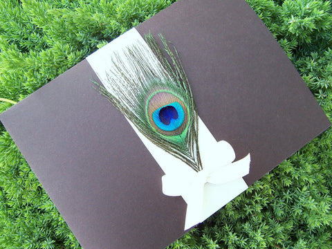 The Peacock Bow Pocketfold Invitation Set