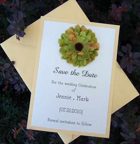 Flower save the date, green, yellow, ivory save the date, tropical save the date, destination, beach, summer save the date