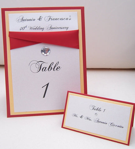 Gold, red, ivory, white table number, Elegant Table number, layered table number, layered escort card, red, gold, ivory placecard