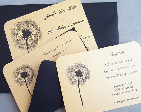 Dandelion Wedding Invitation: Nature Wedding Invite, Flower Wedding Invitation, Custom Invite, Purple/Silver/Yellow/Black/Gold Invitation