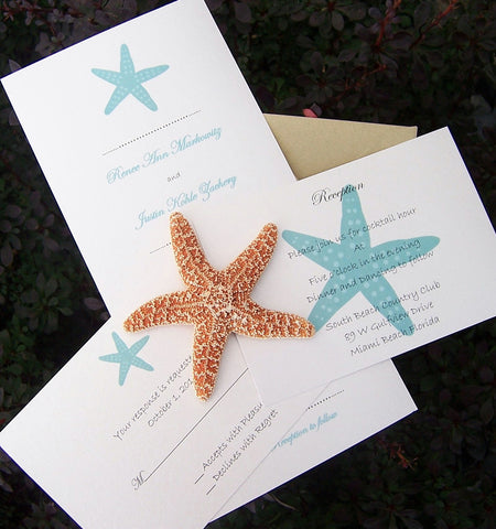Beach Wedding Invitation: Seaside Wedding Invitation, Destination Wedding Invite, Starfish Event Invitation, Custom Handmade Invitation