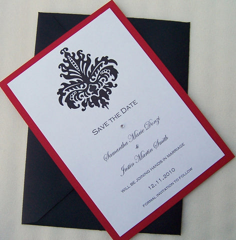 Damask save the date, Chic save the date, modern save the date, black, white, red save the date