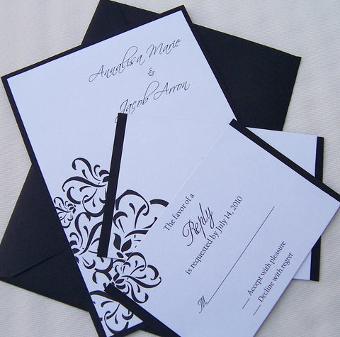 Black and white wedding invitation, flourish wedding invitation, modern wedding invitation, elegant wedding invitation