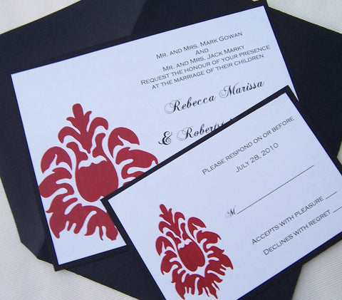 Chic wedding invitation, black, red, white, gold, invitation, damask invitation, modern invitation