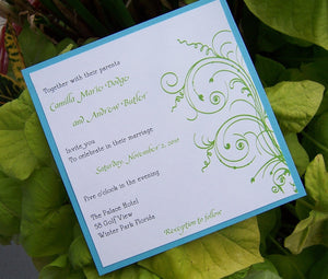 Blue, green, ivory, white wedding invitation, tropical, destination, summer beach invitation