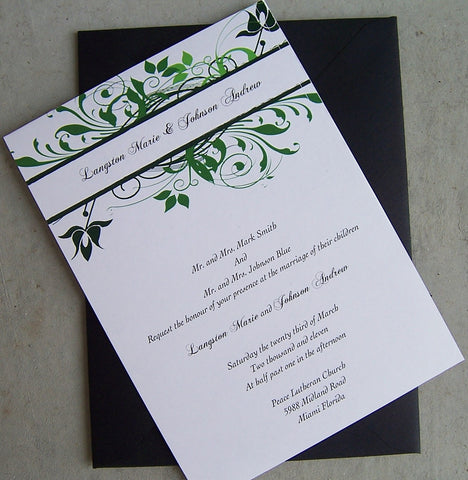 Flower wedding invitation, outdoor wedding invitation, green, black, ivory, white wedding invitation,  leaf invitation, flower invitation