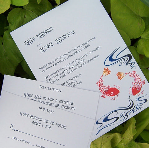 Koi Invitation, Koi wedding invitation, Japanese koi invitation, ivory, white orange, blue, purple, invitation