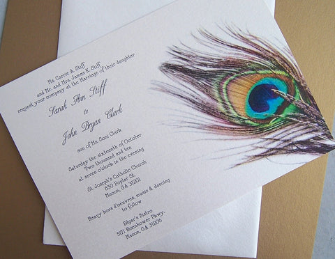 Custom Handmade Peacock Personalized Invitation Set: Elegant & Affordable Event Invitations