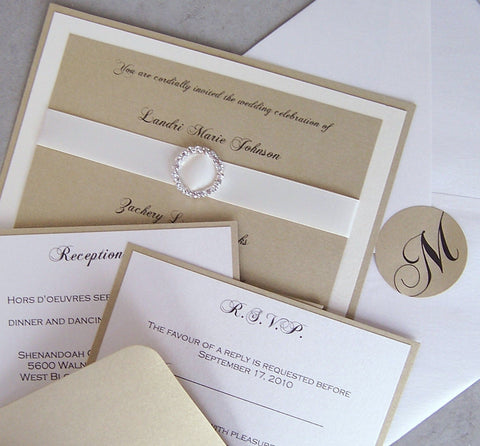 Elegant wedding invitation, gold, ivory, wedding invitation, rhinestone wedding invitation, layered wedding invitation