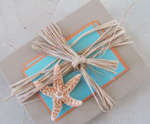 Starfish wedding invitation, destination wedding invitation, beach wedding invitation with starfish, Boxed wedding invitation