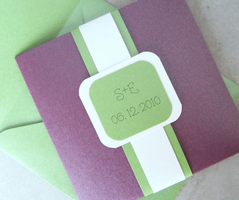 Pocketfold wedding invitation, Purple, green, ivory, metallic wedding invitation, pocketfold invitation, monogram pocketfold invitation