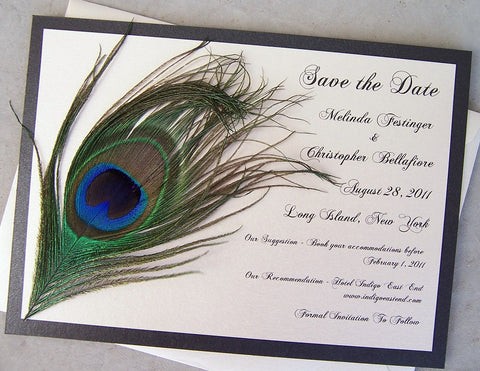 Peacock feather save the date, gold save the date, feather invitation, peacock save the date, ivory invitation, metallic invitation