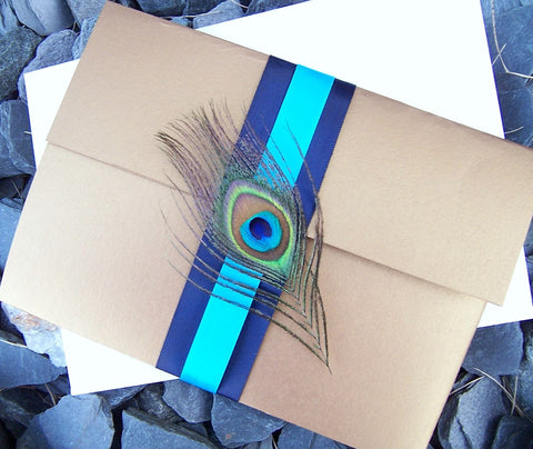 Luxurious pocketfold wedding invitation, , peacock pocketfold invitation, gold metallic, peacock feather invitation