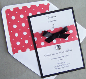 Red, black and white invitation, mickey mouse invitation, birthday party invitation, bow, gem invitation